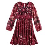 Girls 7-16 Three Pink Hearts Godet Dress