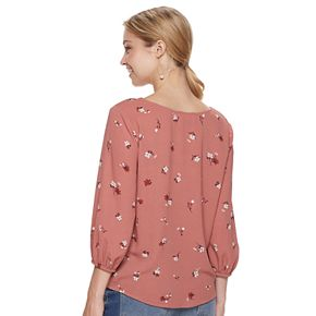 Juniors' Pink Republic Twist Front Shirt