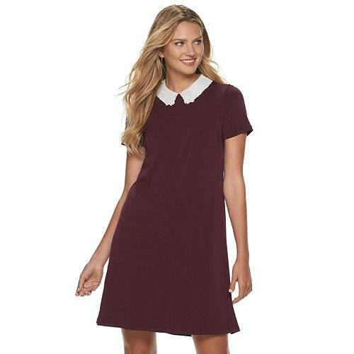 Women's ELLE™ Embroidered Collar Shift Dress