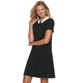 Women's ELLE? Embroidered Collar Shift Dress