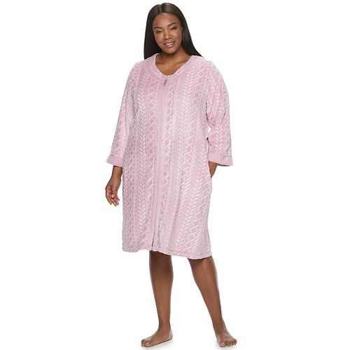 Plus Size Croft & Barrow® Cable Knit Textured Zip Front Plush Robe