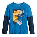Boys 4-12 Jumping Beans® Dinosaur T-Rex Slubbed Mock Layer Graphic Tee