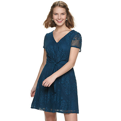 Juniors' AS U WISH All Over Lace Knot Front Skater Dress