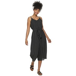 Juniors' AS U WISH Sleeveless Belted Jumpsuit