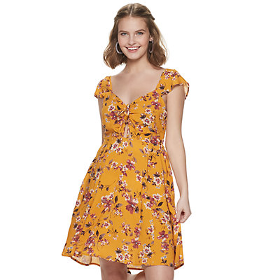 Juniors' Live To Be Spoiled Flutter Sleeve Cutout Dress