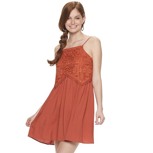 Juniors' Live To Be Spoiled Crocheted Swing Dress