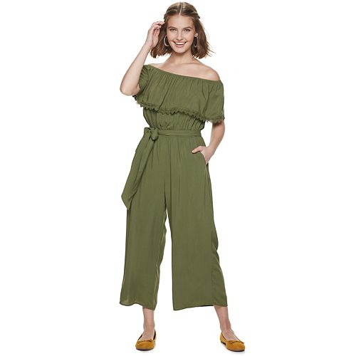 Juniors' Live To Be Spoiled Off-the-Shoulder Flounce Jumpsuit
