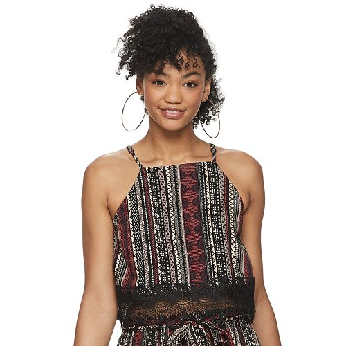 Juniors' Live To Be Spoiled High-Neck Crochet Tank Top