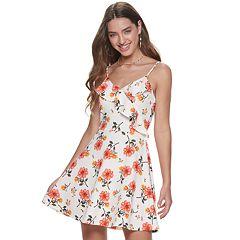 7086dca74a791 Junior's Almost Famous Flounce Surplice Skater Dress