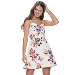 5365a384d Junior's Almost Famous Notch Neck Floral Skater Dress