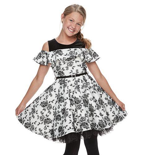 Girls 7-16 KNIT WORKS Skater Dress/ SL Ruffle Skater Printed Dress/Belt/Necklace