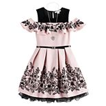Girls 7-16 KNIT WORKS Skater Dress/ SL Ruffle Skater Printed Dress/Belt/Necklace
