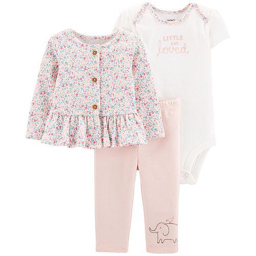 Baby Girl Carter's 3 Piece Ruffled Floral Cardigan, Bodysuit & Pants Set