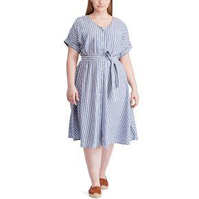 Plus Size Chaps Button Front Dress
