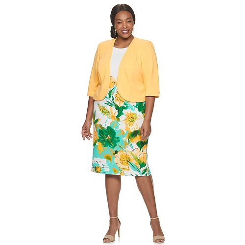 Plus Size Maya Brooke Floral Shift Dress & Jacket Set