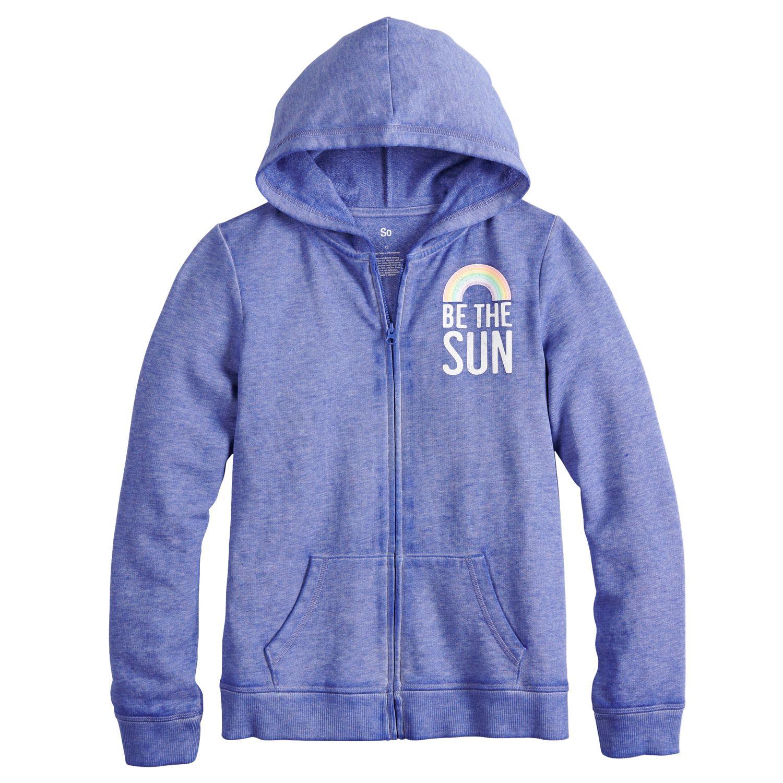 girls blue kids long sleeve tops, clothing kohl\u0027sgirls 7 16 so® burnout graphic hoodie