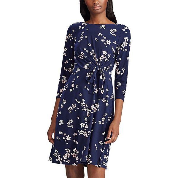 Petite Chaps Floral Draped Knot-Front Dress