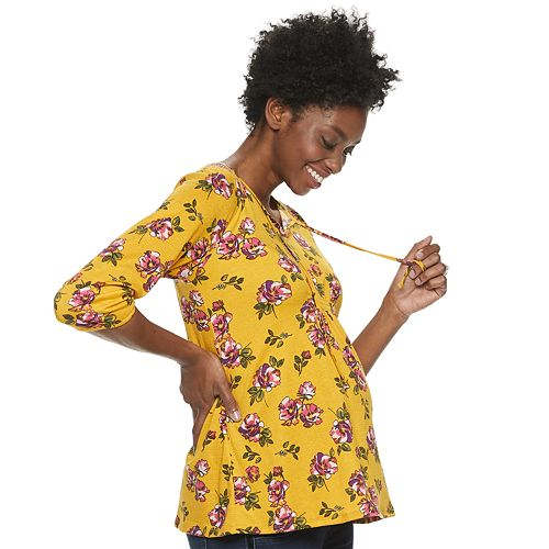 Maternity a:glow Smocked Peasant Top