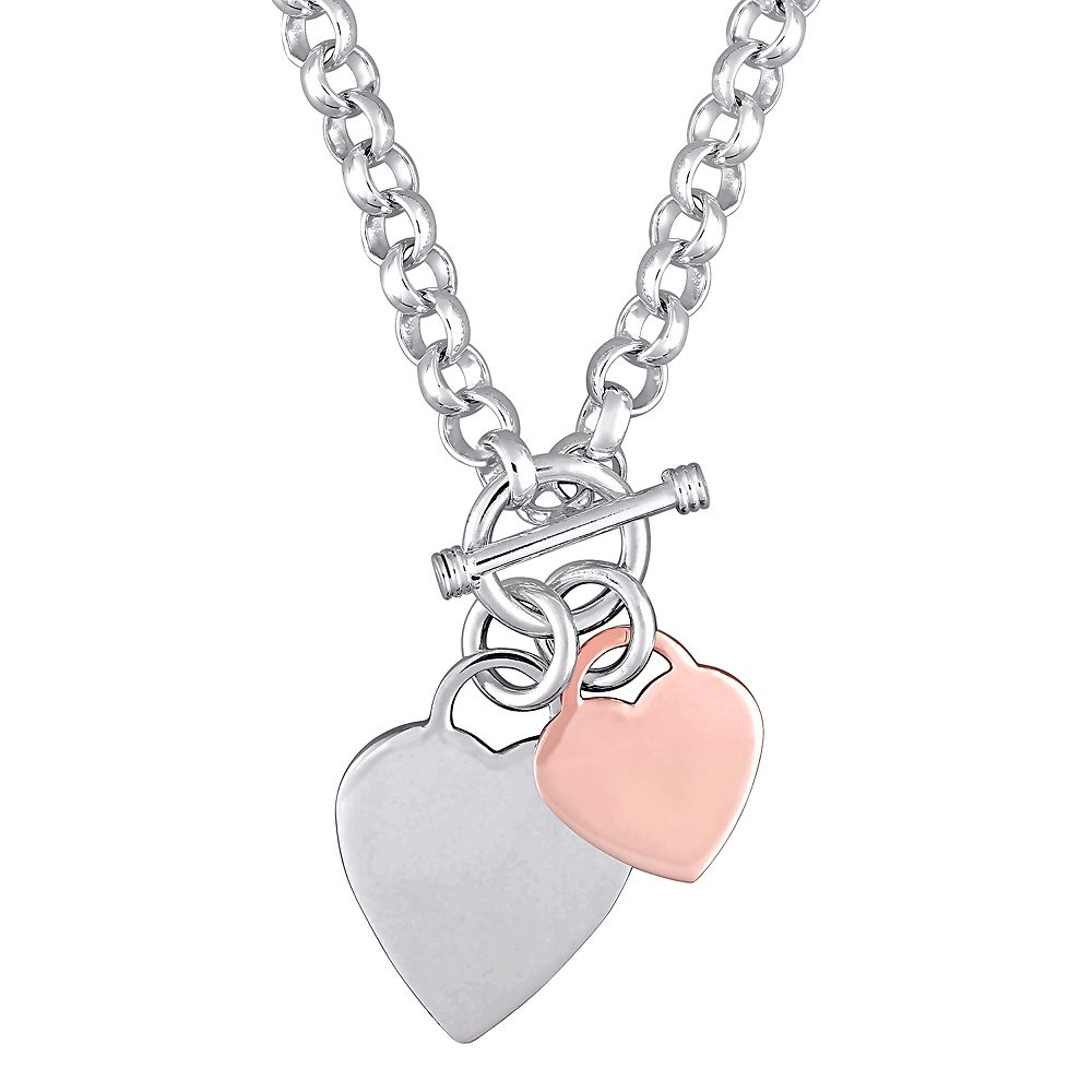 Stella Grace Two Tone Sterling Silver Heart Toggle Necklace