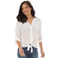 Petite Apt. 9® Tie-Front Roll Tab Shirt