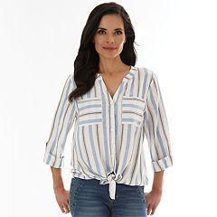 Petite Apt. 9® Tie-Front Mandarin Collar Shirt