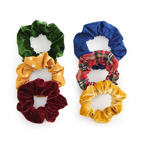 SO® Polka Dot & Plaid Scrunchie Set