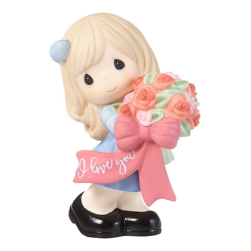 Precious Moments Girl Holding Bouquet Of Flowers Figurine