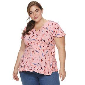 Plus Size EVRI Knit-Faux-Wrap Top
