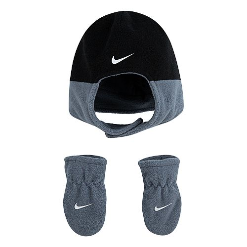 Baby Boy Nike 2 Piece Fleece Chin Strap Trapper Hat And