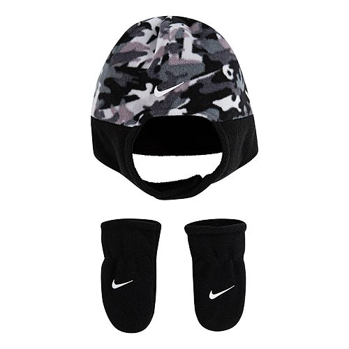 Baby Boy Nike 2-Piece Fleece Chin Strap Trapper Hat and Mittens Set
