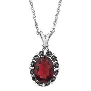 Sterling Silver Gemstone & Black Diamond Accent Pendant Necklace