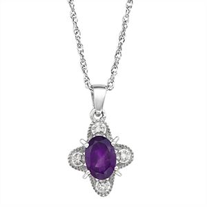 Sterling Silver 1 Carat T.W. Gemstone & Diamond Accent Pendant Necklace
