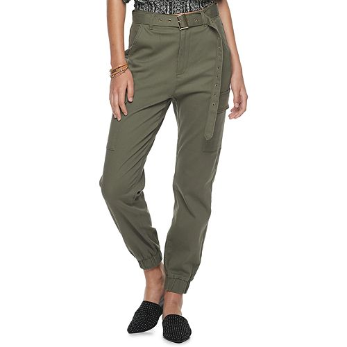 Juniors' Almost Famous Twill Belted Jogger