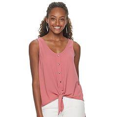 42e7172cf7dc4 Juniors' Pink Republic Sleeveless Button-Front Woven Top