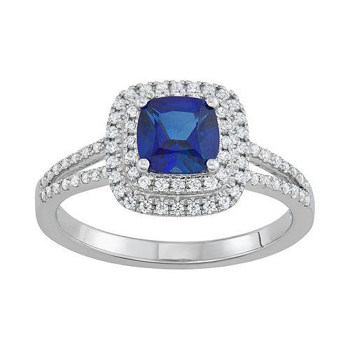 Simply Vera Vera Wang 14k White Gold Sapphire & 1/3 Carat T.W. Diamond Ring