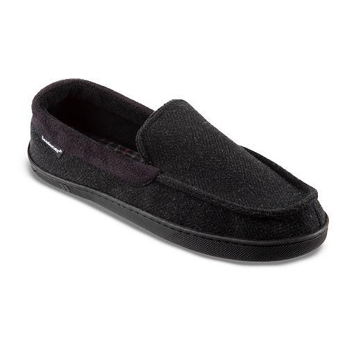 isotoner Men's Herringbone Twill Moccasin Slippers