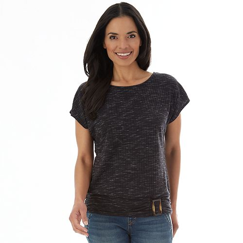 Petite Apt. 9® Dolman Ribbed Tee With Buckle