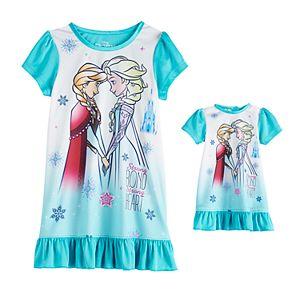 Disney's Frozen Toddler Girl Elsa & Anna Night Gown & Doll Gown Set