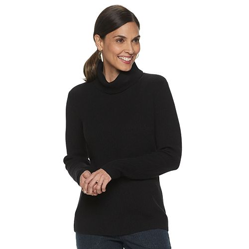 Women's Croft & Barrow® Shaker T-Neck Pullover Sweater