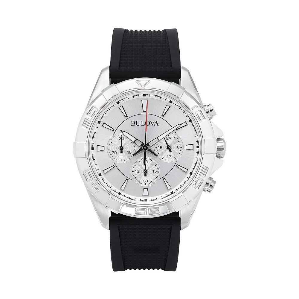 Bulova Men's Black Silicone Band Chronograph Watch - 96A213