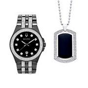 Bulova Men's Crystal Watch & Dog Tag Necklace Set - 98K101