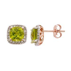 Peridot and 1/6 Carat T.W. Diamond 10K Rose Gold Halo Button Stud Earrings