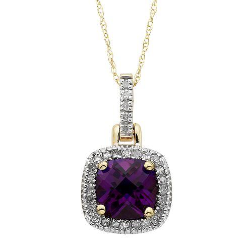 10k Gold 1/8 Carat Amethyst Diamond Halo Pendant