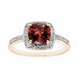 Garnet 10K Gold & 1/5 Carat T.W. Diamond Frame Ring