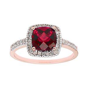 Lab-Created Ruby 10K Gold & 1/5 Carat T.W. Diamond Frame Ring