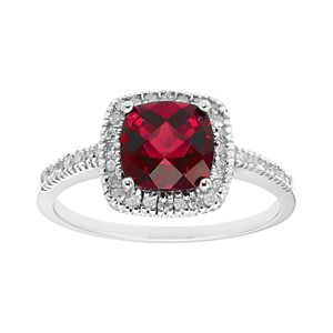 Lab-Created Ruby 10K Gold & 1/5 Carat T.W. Diamond Frame Ring