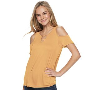 Juniors' Pink Republic Short Sleeve Cold-Shoulder Tee
