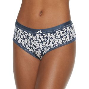 Juniors' SO Soft Cotton Hipster with Elastic and Lace Trimmings