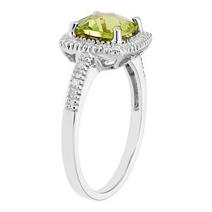 Peridot 10K Gold & 1/5 Carat T.W. Diamond Frame Ring