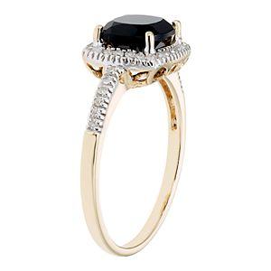 Onyx 10K Gold & 1/5 Carat T.W. Diamond Frame Ring